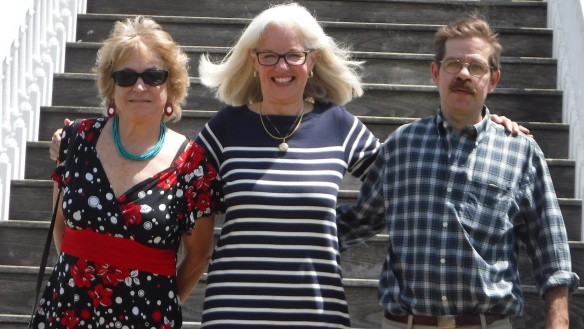 Third cousins Amy MacDonald, Mary Mitchell, and Charles Fletcher on the steps of the Henry Knox Museum.