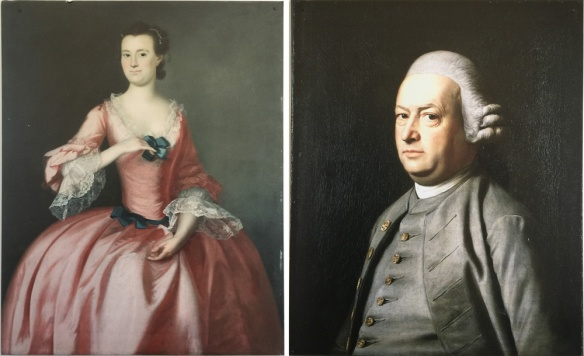 Hannah Waldo Flucker and Thomas Flucker. The Original paintings hang in Boudoin College along with a painting of Hannah's father, Samuel Waldo.