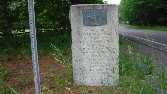 The Massachusetts side of the marker on the state line. MA1 of the Henry Knox Trail