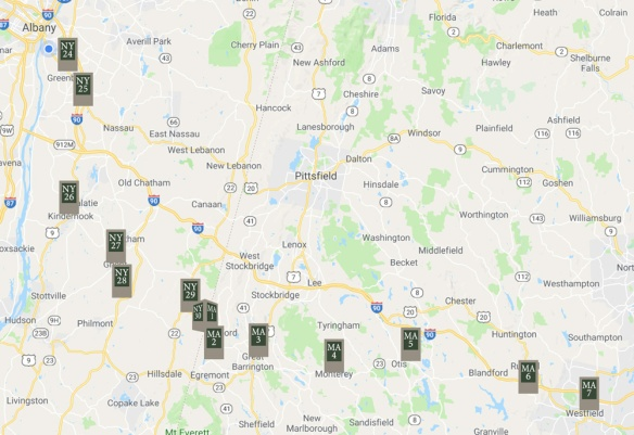 Map of Markers on the Henry Knox Trail from Albany NY to Westfield MA