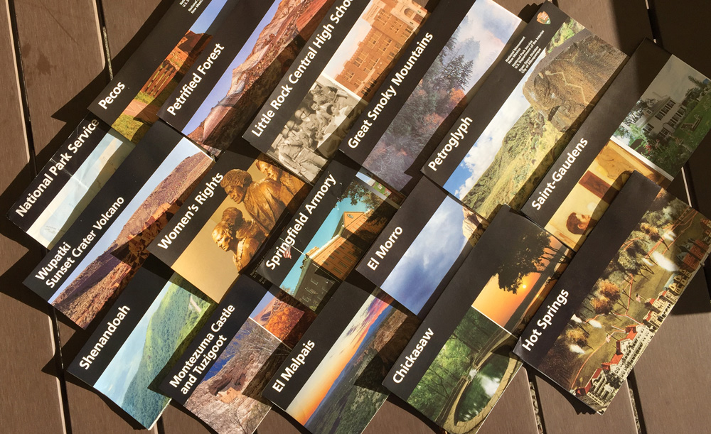 Brochures for the National Parks I saw on my westward leg of my USA Swing