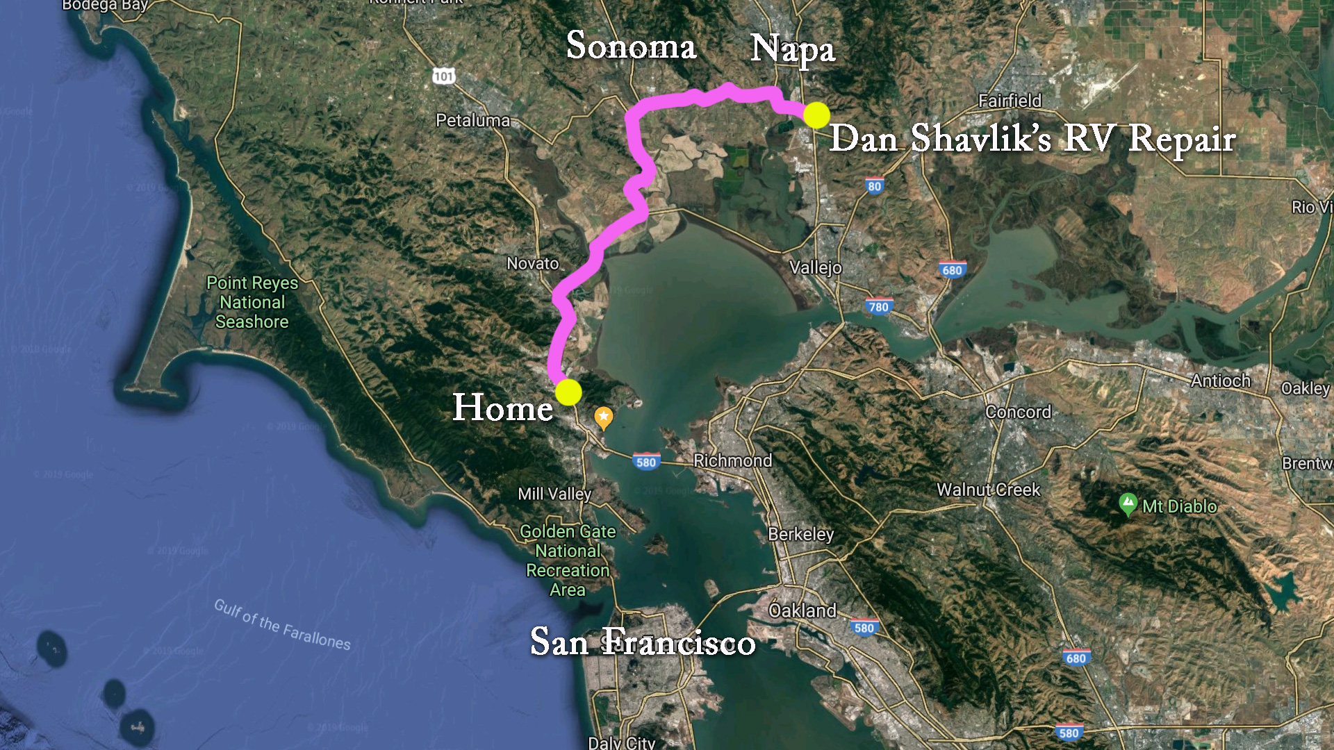 Map of Route from Marin County to Napa Valley